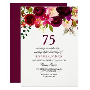 Burgundy Floral Boho 75th Birthday Party Invite
