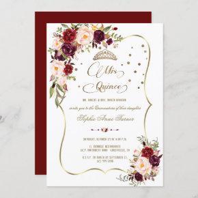 Burgundy Floral Gold Mis Quince Script Quinceañera Invitation