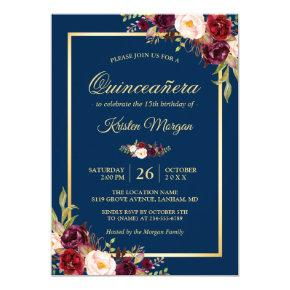 Burgundy Floral Navy Blue Quinceanera Birthday Invitations