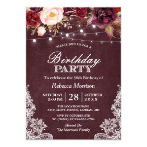 Burgundy Floral String Lights Lace Birthday Party Card