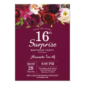 Burgundy Floral Surprise 16th Birthday Party Invitations