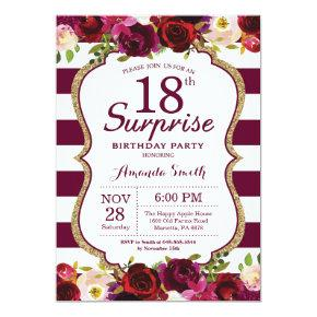 Burgundy Floral Surprise 18th Birthday Party Invitation