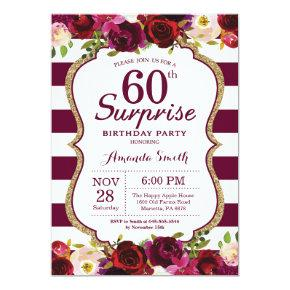 Burgundy Floral Surprise 60th Birthday Party Invitations