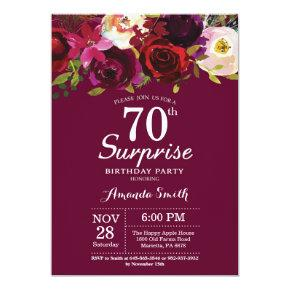Burgundy Floral Surprise 70th Birthday Party Invitations