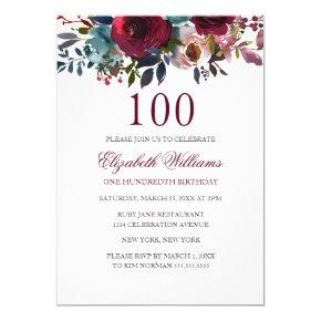 Burgundy Floral Watercolor 100th Birthday Invite