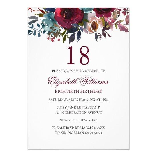 Burgundy floral watercolor 18th birthday invite candied clouds burgundy floral watercolor 18th birthday invite filmwisefo