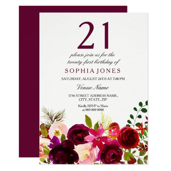 burgundy flowers 21st birthday party invitations candied clouds
