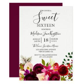 Burgundy Flowers Floral Boho Sweet 16 Invitations