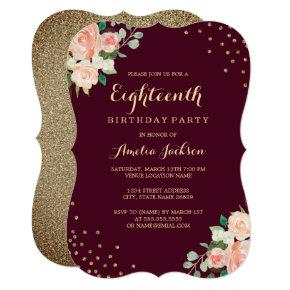 Burgundy Gold Floral Confetti 18th Birthday Party Invitations