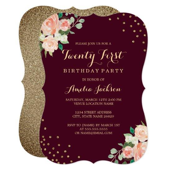 burgundy gold floral confetti 21st birthday party invitations
