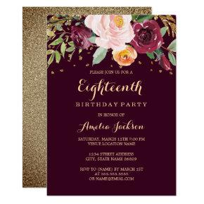 Burgundy Gold Floral Glitter 18th Birthday Party Invitations