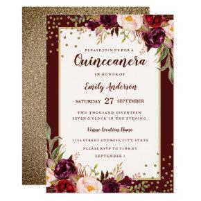Burgundy Gold floral Sparkle Quinceanera Invite