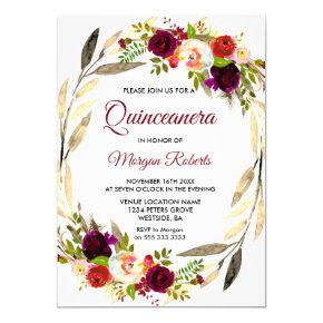 Burgundy And Gold Quinceanera Birthday Invitations Candied Clouds