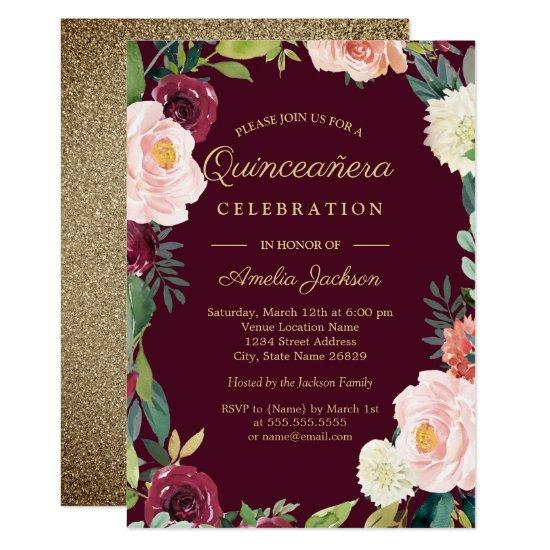 Burgundy Gold Floral Wreath Quinceanera Invite Candied Clouds