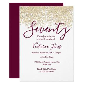 Burgundy Gold Glitter 70th birthday party Invite
