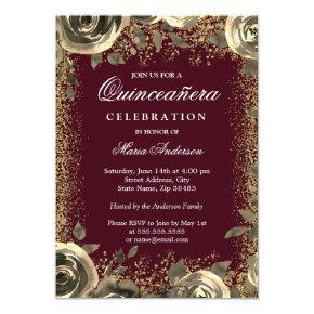 Burgundy & Gold Sparkle Glitter Quinceanera Invite