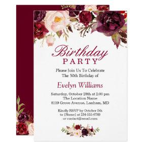 Burgundy Marsala Red Floral Birthday Party Invitations