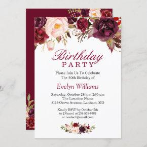 Burgundy Marsala Red Floral Birthday Party Invitation