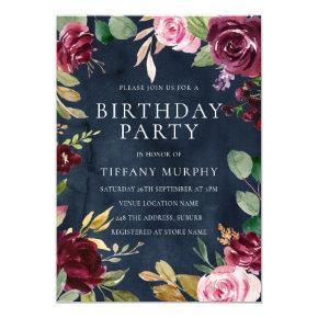 Burgundy Navy Watercolor Floral All Years Birthday Invitation