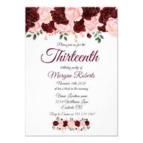 Burgundy Pink Rose 13th Birthday Party Invite