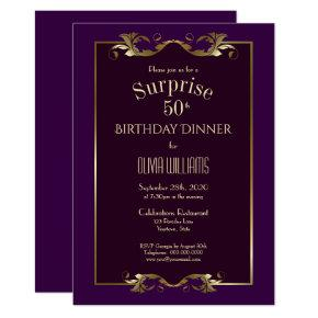 Burgundy Purple Gold Surprise 50th Birthday Dinner Invitation