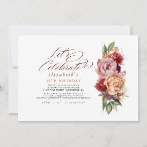 Burgundy Red and Orange Floral Fall Her Birthday Invitation