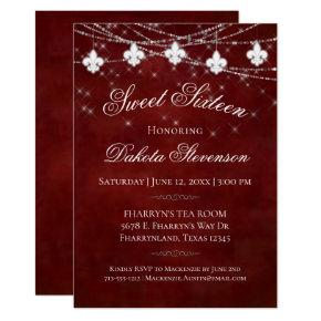 Burgundy Red Fleur de Lis Lights | Sweet 16 Party Invitation