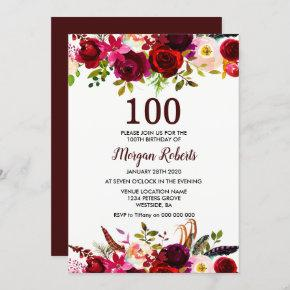 Burgundy Red Floral 100th Birthday Party Invite