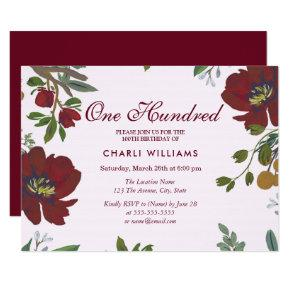 Burgundy Red Flowers 100th Birthday Party Invite