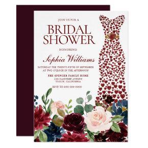 Burgundy Red Heart Dress Floral Bridal Shower Invitation
