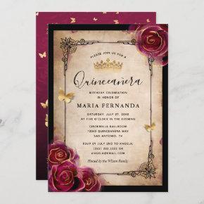Burgundy Rose Gold Watercolor Elegant Quinceanera Invitation