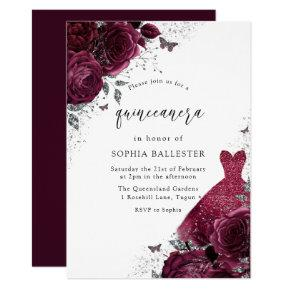 Burgundy & Silver Dress & Floral Roses Quinceanera Invitation