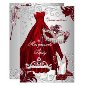 Burgundy Silver Dress masquerade Quinceanera mask Invitations
