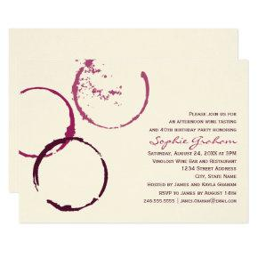 Burgundy Wine Stain Rings Birthday Party Invitation