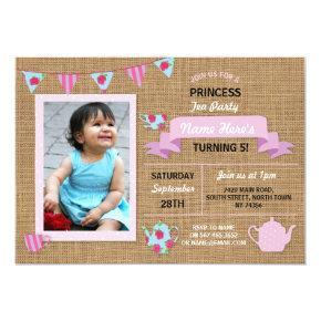 Burlap Princess Tea Party Pink Birthday Invite
