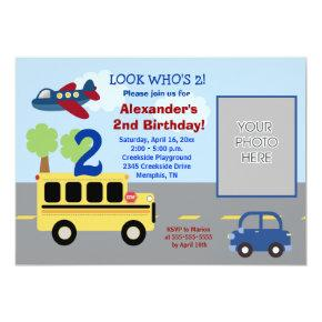 Bus Transportation Theme *PHOTO* Birthday Invitation