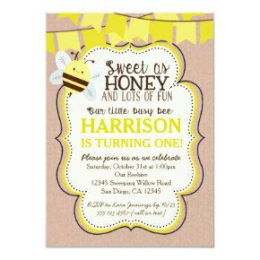 Busy Bee Birthday Invitation for boy or girl