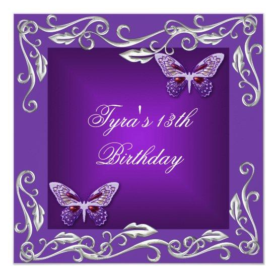Butterflies 13th Birthday Party Bright Purple Card