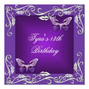 Butterflies 13th Birthday Party Bright Purple Invitations