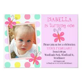 Butterflies 1st Or 2nd Birthday Party Invitations