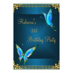 Butterflies 21st Birthday Party Blue Teal Invitation