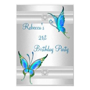 Butterflies 21st Birthday Party White Silver Teal Invitations