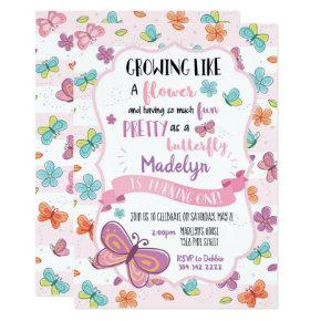 Butterflies First Birthday Invitations