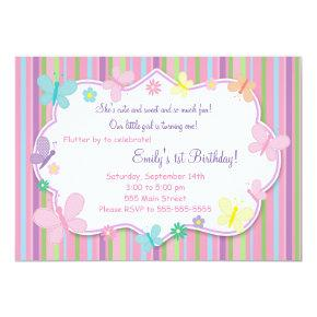Butterflies Girl Birthday Invitation