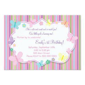 Butterflies Girl Birthday Invitations