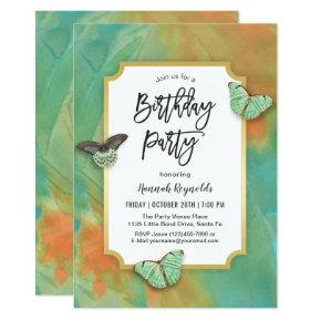 Butterflies on Southwest Colors Birthday Party Invitations