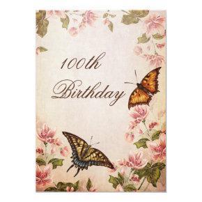Butterflies & Vintage Almond Blossom 100th Invitations