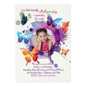 Butterflies Watercolor Photo Invitation