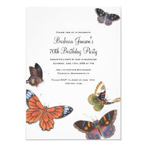 Butterfly 70th Birthday Party Invitations