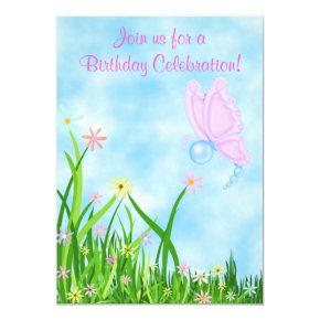 Butterfly and Flowers Birthday Invitations